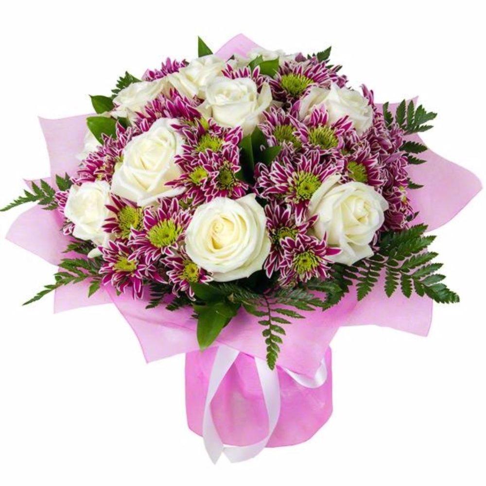 Коллекция букеты из роз и хризантем, астры заказать